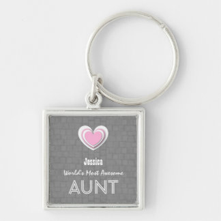 Awesome AUNT Gray Mosaic and Pink Heart F02Z Silver-Colored Square Keychain