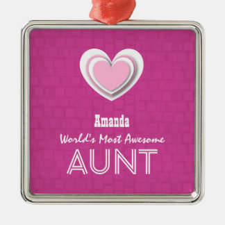 Awesome AUNT Pastel Hot Pink Mosaic and Star F01 Silver-Colored Square Ornament