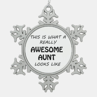 Awesome Aunt Snowflake Pewter Christmas Ornament