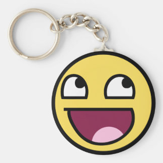 awesome /b/ smiley face basic round button keychain