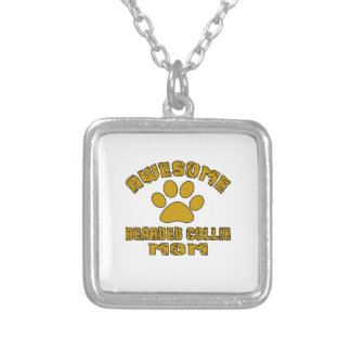 AWESOME BEARDED COLLIE MOM SILVER PLATED NECKLACE