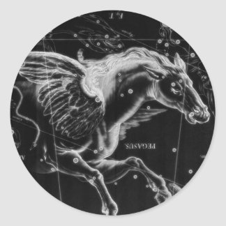 awesome beautiful mystic flying wings horse classic round sticker