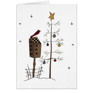 Awesome bird/birdhouse,christmas tree greeting car card