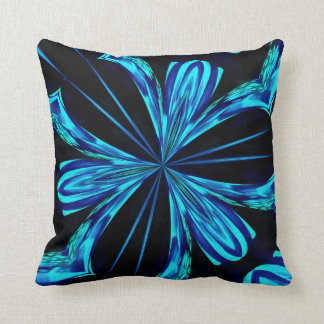 Awesome Black and Blue Comet Design Throw Pillow