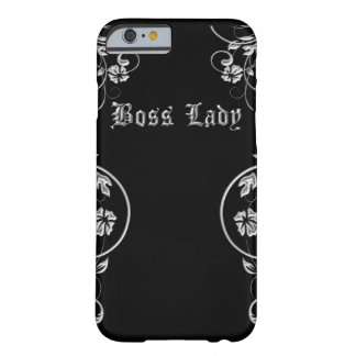 Awesome Black and Silver Boss Lady Floral Design Barely There iPhone 6 Case