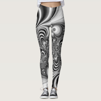 Awesome black and white fractal print on leggings