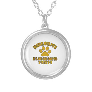 AWESOME BLOODHOUND MOM SILVER PLATED NECKLACE