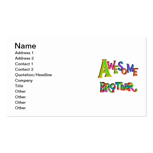 Awesome Brother T-shirts and Gifts Business Card Template