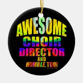 Awesome Choir Director Starburst Round Ceramic Ornament