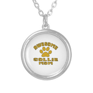 AWESOME COLLIE MOM SILVER PLATED NECKLACE