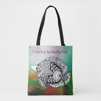 Awesome Color On Four Eye ButterFly Fish Tote