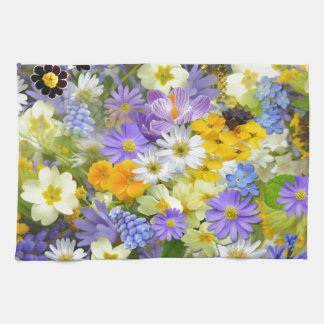 Awesome Colorful Garden Flowers Design Kitchen Towel