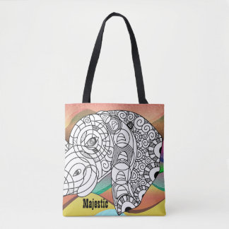 Awesome Colour On Majestic Elephant Tote Bag