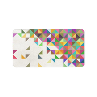 Awesome colourful retro geometric pattern label