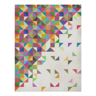 Awesome colourful retro geometric pattern poster