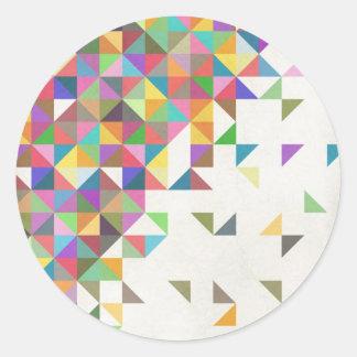 Awesome colourful retro geometric pattern round sticker