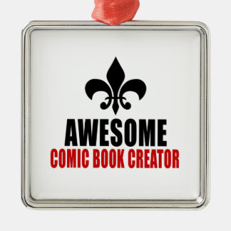 AWESOME COMIC BOOK CREATOR Silver-Colored SQUARE ORNAMENT