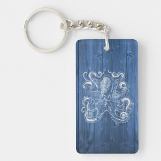 awesome cool Antique effect white octopus Keychain