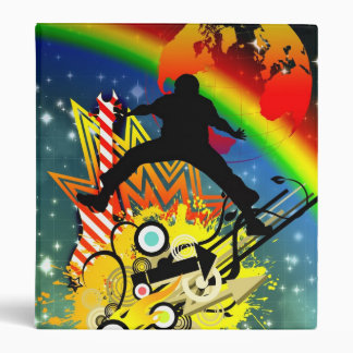 Awesome cool music dancer silhouette guitar planet vinyl binders