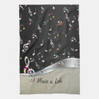 """Awesome cool """"Music is Life"""" colourful music notes Kitchen Towel"""