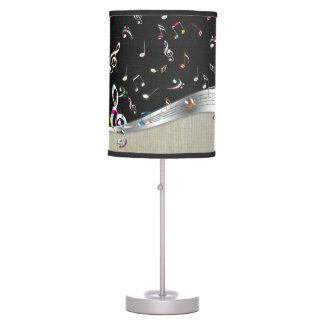 "Awesome cool ""Music is Life"" colourful music notes Table Lamp"
