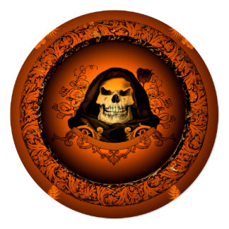 """Awesome, cool skull 5.25"""" square invitation card"""