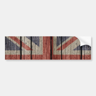 Awesome cool trendy old wood grunge U.k. flag Bumper Stickers