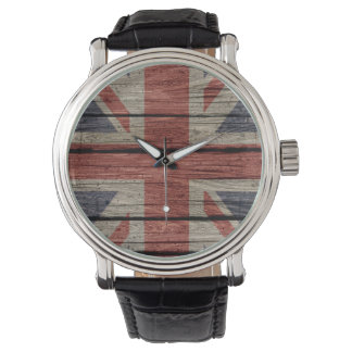Awesome cool trendy old wood grunge U.k. Flag Watch