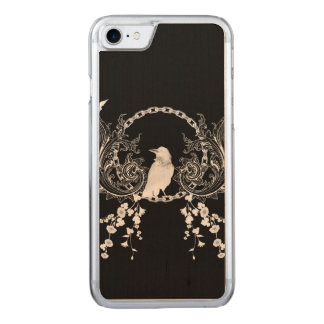 Awesome crow and flowers carved iPhone 7 case