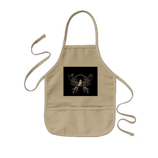Awesome crow and flowers in black and white kids apron