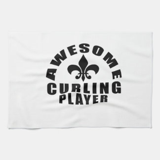 AWESOME CURLING PLAYER KITCHEN TOWEL