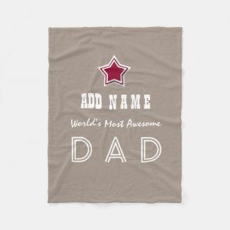 Awesome DAD Red Star Sand Background V1 Fleece Blanket