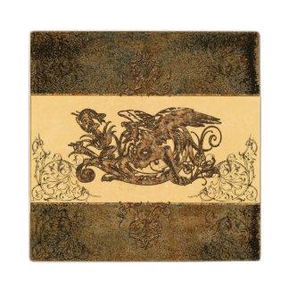 Awesome dragon maple wood coaster