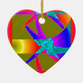 Awesome Dragonfly Rainbow Gifts by Sharles Ceramic Ornament