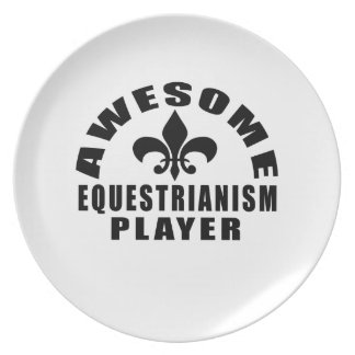 AWESOME EQUESTRIANISM PLAYER DINNER PLATES