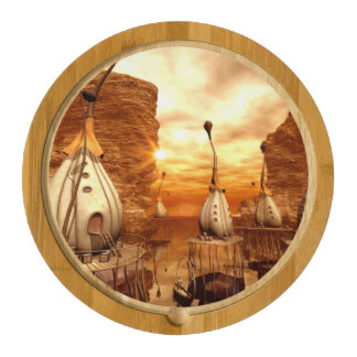 Awesome fantasy world in the sunset rectangular cheeseboard