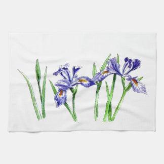 Awesome Feminine Blue Iris Design Photo Kitchen Towel