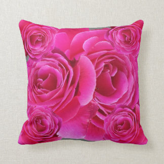 AWESOME FUCHSIA PINK ROSES  PATTERN THROW PILLOW