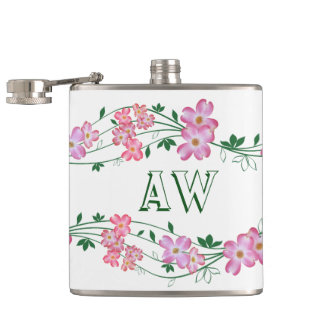 Awesome Girly Pink Floral Hip Flask