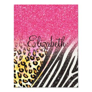 "Awesome girly trendy leopard print, zebra stripes 4.25"" x 5.5"" invitation card"