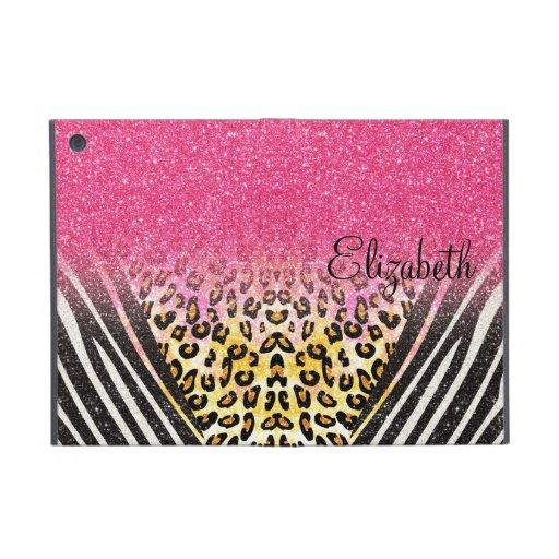 Awesome girly trendy leopard print, zebra stripes iPad mini cover