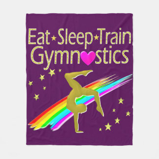 AWESOME GOLD AND PURPLE GYMNASTICS DESIGN FLEECE BLANKET