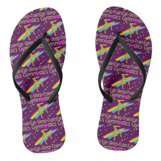 AWESOME GOLD AND PURPLE GYMNASTICS DESIGN FLIP FLOPS