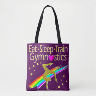 AWESOME GOLD AND PURPLE GYMNASTICS DESIGN TOTE BAG