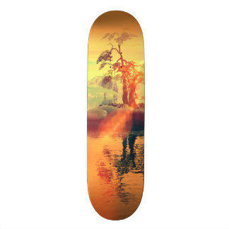 Awesome golden sunset on the sea skateboard