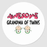 AWESOME GRANDMA of TWINS Round Stickers
