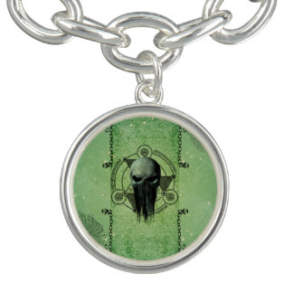 Awesome green skull with grunge bracelet