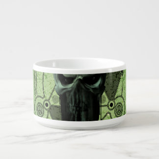 Awesome green skull with grunge chili bowl