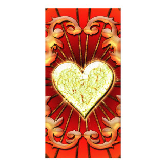Awesome heart with flame custom photo card