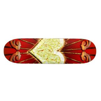Awesome heart with flame custom skateboard